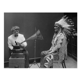 Frances Densmore Audio Recording Blackfoot Chief Postcard