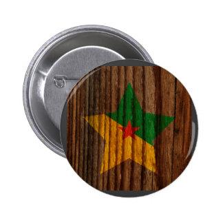 Francés+Estrella de la bandera de Guayana en el Pin Redondo 5 Cm