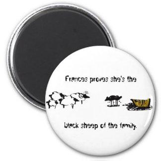 Frances las ovejas negras imán redondo 5 cm
