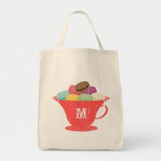 Francés Macarons en bolso rojo del monograma de la Bolsa Tela Para La Compra