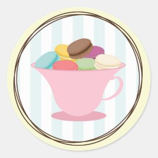 Francés Macarons en pegatina de la taza de té