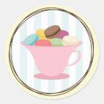Francés Macarons en pegatina de la taza de té rosa