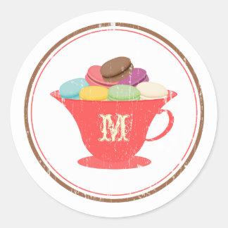 Francés Macarons en pegatina rojo del monograma de