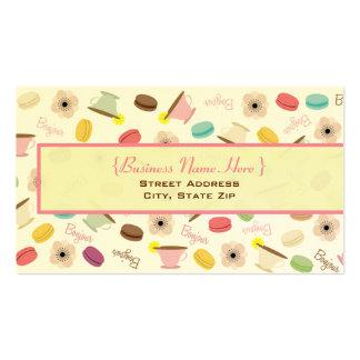 Francés Macarons y tarjeta de visita de las tazas