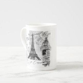Francés negro y blanco de la torre Eiffel de París Taza De Porcelana