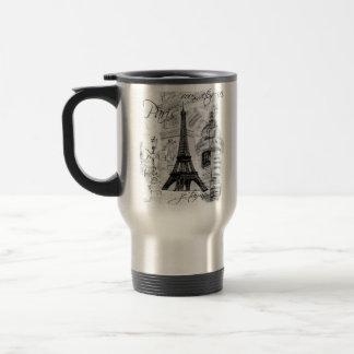 Francés negro y blanco de la torre Eiffel de París Taza De Viaje De Acero Inoxidable