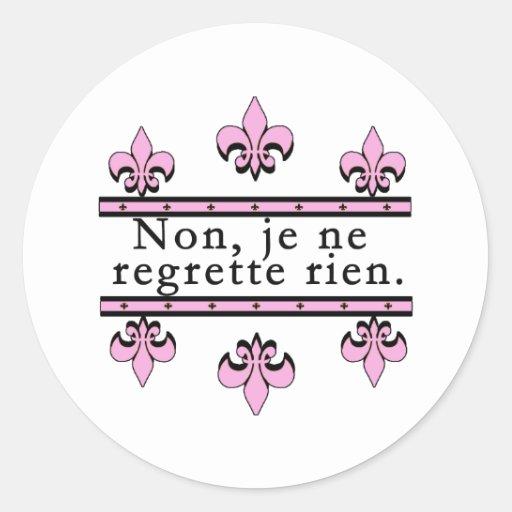 Francés ningunos productos de los pesares pegatina redonda