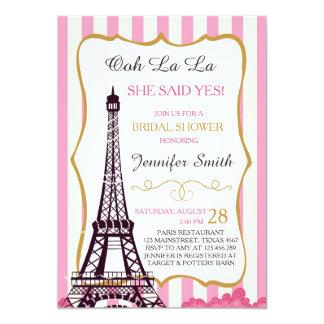 """Francés nupcial de la torre Eiffel de París de la Invitación 5"""" X 7"""""""