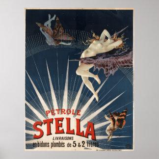 Francés Petrole Stella (gasolina del vintage de Póster