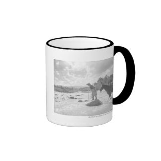 Frances Phelps Belden fly fishing in the river Ringer Coffee Mug