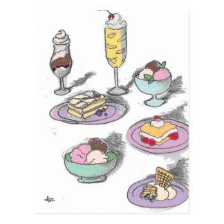 Francés retro de los postres dulces del helado postales
