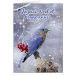 Francés - tarjeta de felicitación azul del navidad