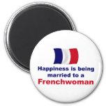 Francesa feliz casada imán para frigorifico