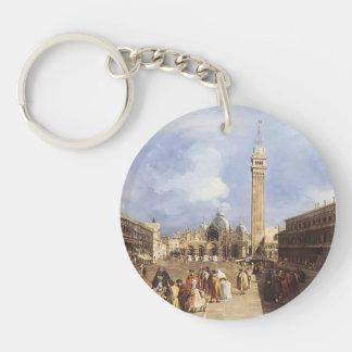 Francesco Guardi-Piazza San Marco towards Basilica Single-Sided Round Acrylic Keychain
