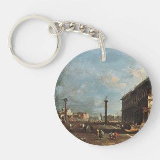 Francesco Guardi- View of Piazzetta San Marco Single-Sided Round Acrylic Keychain