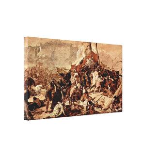 Francesco Hayez - 7th Crusade against Jerusalem Canvas Print