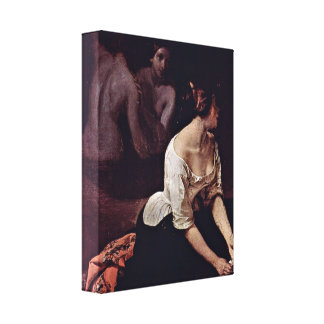 Francesco Hayez - Bath of the Nymphs Detailed Stretched Canvas Print