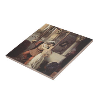Francesco Hayez- The last kiss of Romeo and Juliet Small Square Tile