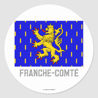 Franche-Comté flag with name Classic Round Sticker