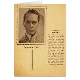 Franchot Tone Lemon Merigue Pie Recipe Card