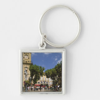 Francia, Aix-en-Provence, La Place de la Maire Llavero Cuadrado Plateado