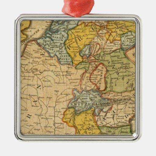Francia, Alemania, Países Bajos, Suiza Adorno Cuadrado Plateado