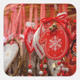 Francia, Alsacia, Colmar. Mercado del navidad Pegatina Cuadrada
