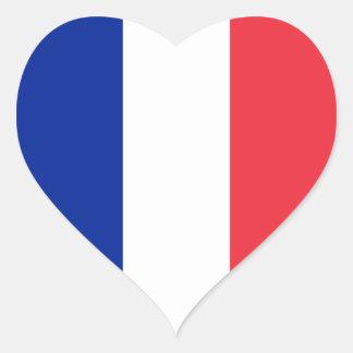 Francia/bandera francesa del corazón pegatina en forma de corazón