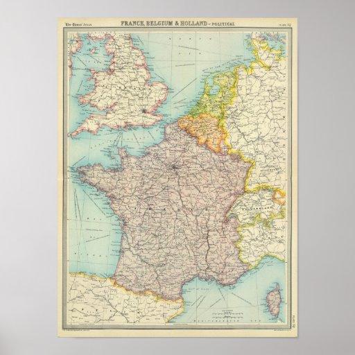 Francia, Bélgica y Holanda políticas Póster