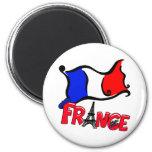 Francia con los productos de la bandera imán para frigorífico