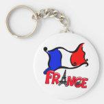 Francia con los productos de la bandera llaveros personalizados