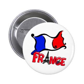 Francia con los productos de la bandera pin redondo 5 cm