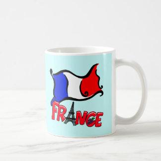 Francia con los productos de la bandera taza