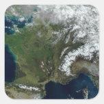 Francia del espacio pegatinas cuadradases