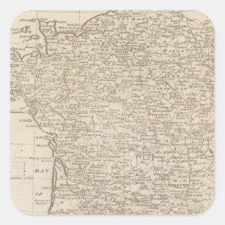 Francia dividió en círculos y departamentos calcomanía cuadradas personalizada