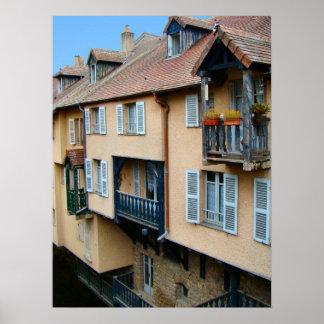 Francia, el Jura, Arbois, casas de la orilla Impresiones