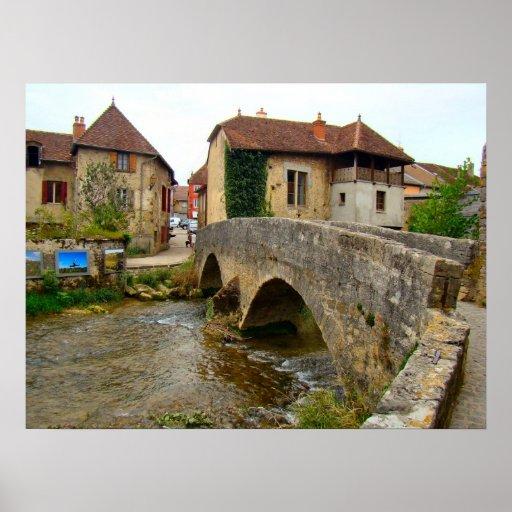 Francia, el Jura, Arbois, puente viejo Póster