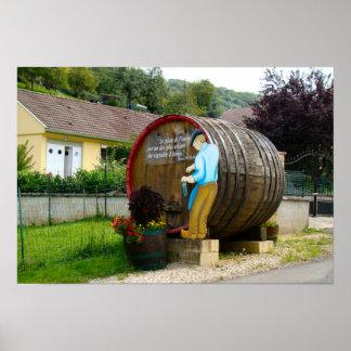 Francia, el Jura, Arbois, Pupillon, barril de vino Poster