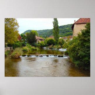 Francia, el Jura, Arbois, Pupillon, río y montaña Posters