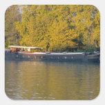 Francia, el río Rhone, cerca de Aviñón, gabarra ad Calcomanía Cuadrada Personalizada