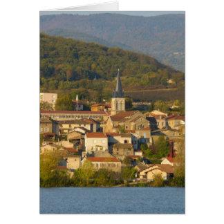 Francia, el río Rhone, ciudad cerca de Vienne Tarjeta De Felicitación