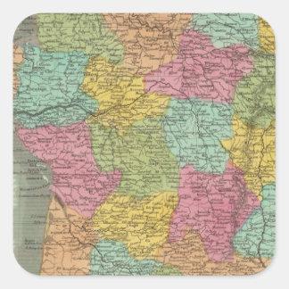 Francia en los departamentos 2 calcomanías cuadradas