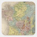 Francia geológica pegatina cuadrada