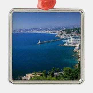 Francia, Niza, aérea vista del puerto Adorno Navideño Cuadrado De Metal