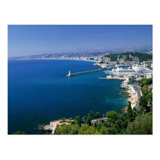 Francia, Niza, aérea vista del puerto Tarjetas Postales