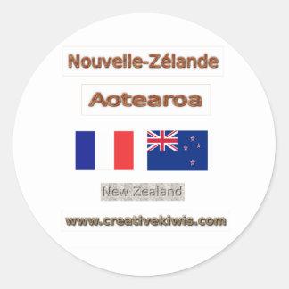 Francia, Nouvelle-Zélande Pegatina Redonda