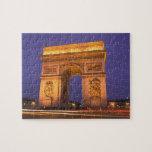 Francia, París, Arco del Triunfo en la oscuridad Rompecabezas
