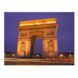 Francia, París, Arco del Triunfo en la oscuridad Postal