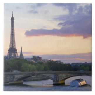 Francia, París, barco del viaje en el río el Sena, Azulejo Cuadrado Grande