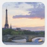 Francia, París, barco del viaje en el río el Sena, Calcomanía Cuadrada Personalizada